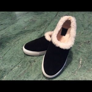 0632658d0b1688 Tory Burch Shoes - Tory Burch Miller Black Suede Shearling Reva Slip